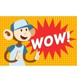 Wow text monkey classic pop art design vector image vector image
