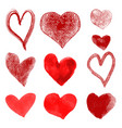 set of hand drawn hearts isolated on whit vector image