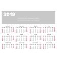 Calendar 2019 year design template vector image