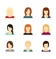 set of avatars of beautiful girls vector image