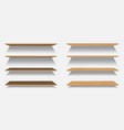 set of empty wooden or plastic shelves vector image