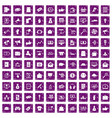 100 digital marketing icons set grunge purple vector image vector image
