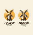 bakery bakehouse logo or label mill windmill vector image vector image