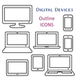 Black digital device outline icons vector image vector image