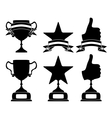 Black trophy and awards icons set vector image