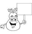 cartoon happy pear holding a sign vector image vector image