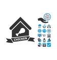 Chicken Cafe Flat Icon With Bonus vector image