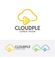 cloud play logo design vector image vector image