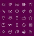contact us line color icons on purple background vector image