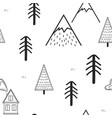 cute hand drawn seamless pattern with trees house vector image vector image