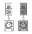 dark contour loudspeakers on subwoofers technical vector image vector image