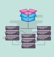 data server center hosting connection storage vector image