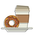 disposable coffee cup and donut chocolate glazed vector image vector image