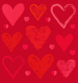 doodle sketch heart pattern on pink background vector image