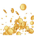 falling metallic coins background vector image