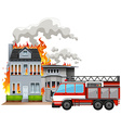 Fire scene with fire truck vector image vector image