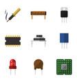 flat icon electronics set of unit bobbin vector image vector image