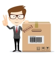 funny cartoon businessman in glasses with a vector image vector image