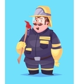 funny fireman cartoon character vector image