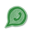 green phone handset in speech bubble hand drawn vector image