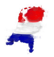 grunge map netherlands with dutch flag vector image