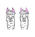 hand drawn funny lama vector image vector image