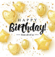 happy burtday greeting card design with golden vector image vector image