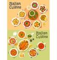 Italian cuisine icon set for dinner menu design vector image vector image