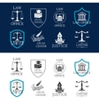 Justice law office and legal center icons vector image