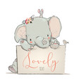 little lovely elephant with mouse and bird vector image vector image