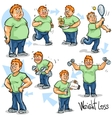 Man achieving his Weight-Loss goal vector image vector image