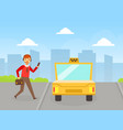 man calling taxi using mobile app online taxi vector image