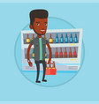man with pack of beer at supermarket vector image vector image