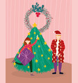 merry christmas man and girl with gift tree room vector image vector image