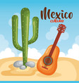 mexican culture cactus with guitar vector image vector image