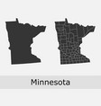 minnesota map counties outline vector image vector image