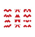 modern professional set logos m geometric in red vector image