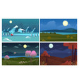 night landscape four season backgrounds vector image