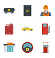 petrol industry icon set flat style vector image vector image