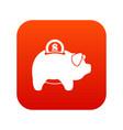 pig money box icon digital red vector image vector image