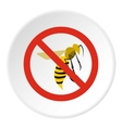 Prohibition sign wasps icon flat style vector image vector image