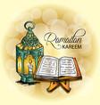 ramadan kareem greeting card with quran and lamp vector image vector image
