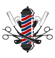 razor and scissors symbol for barbershop vector image vector image