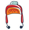 red snow hat on white background vector image vector image