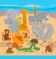 safari wild animal characters cartoon vector image vector image