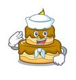 sailor birthday cake character cartoon vector image