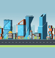 seamless city urban landscape with buildings and vector image