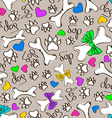 seamless pattern dogs paws and bones vector image