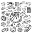 set of bakery and pastry products bread and pie vector image vector image