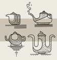 Set of four stylized silhouettes of teapots vector image vector image